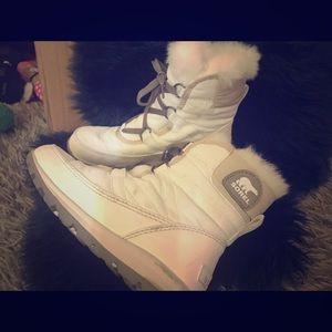 Ladies white sorel booties